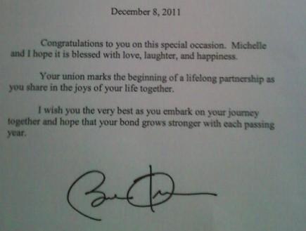 מכתב אובמה לזוג גייז (צילום: צילום מסך אתר dailymail)