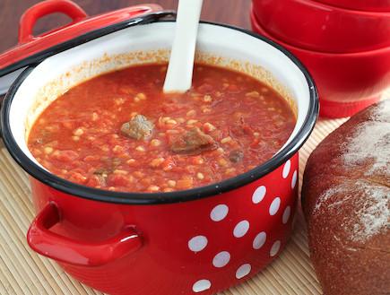 מרק עגבניות, בשר וגריסים (צילום: אסף רונן)