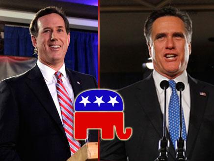 רומנו וסנטורום - תיקו במירוץ לבחירות הרפובליקנים (צילום: חדשות 2)