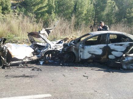 זירת התאונה, הבוקר בצפון (צילום: פוראת נסאר)