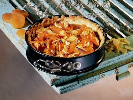 טארט משמשים מיובשים עם שקדים פרוסים  (צילום: קדם צלמים, עוגות ועוגיות, הוצאת קוראים)