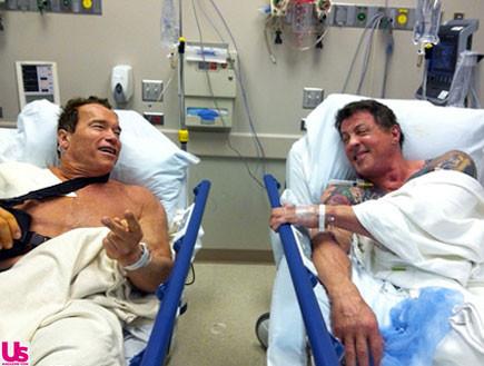 שוורצנגר וסטאלון בבית חולים