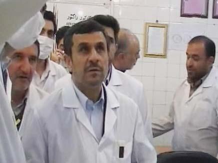 אחמדינג'אד במתקן גרעין אירני, ארכיון (צילום: חדשות 2)