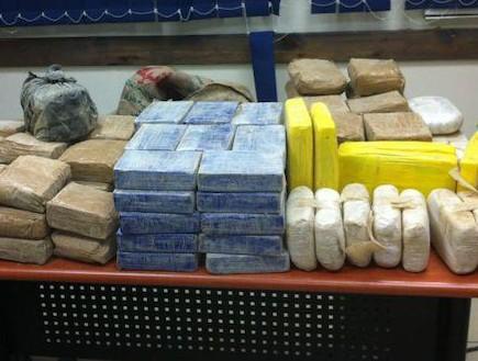 """קוקאין שנתפס בפשיטה של יחידת מג""""ן (צילום: משטרת ישראל)"""