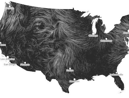 """מפת הרוחות בארה""""ב (צילום: hint.fm/wind)"""