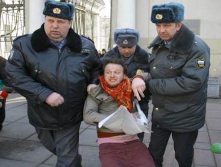 הפגנה סנט פטרסבורג (צילום: ארגון GayRussia.ru )
