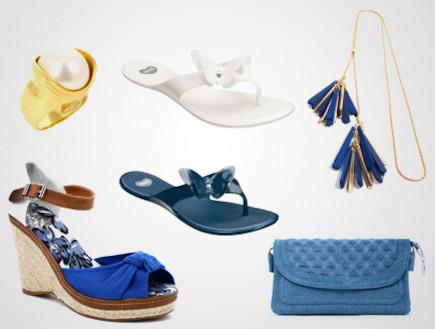 סנדלים, כפכפים, תכשיטים וקלאץ' בכחול לבן