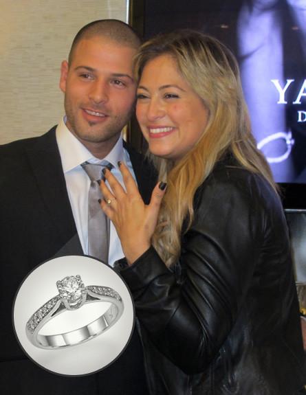 טבעת האירוסין של ליהיא גרינר (צילום: יעקובוב דייאמונד קוטור,  יחסי ציבור )