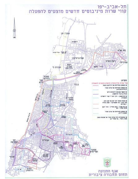 מפת הקווים שהציגה עיריית ת