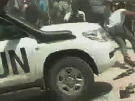 """רכב האו""""ם שנקלע לחילופי האש (צילום: חדשות 2)"""