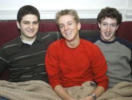 מארק צוקרברג (מימין), כריס יוז, דסטין מוסקוביץ (צילום:  Photo by Flash90)
