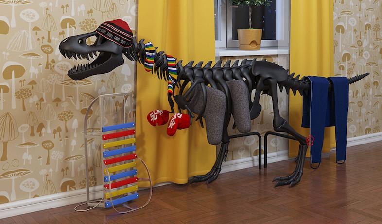 משחקי ילדים, מתלה לבגדים בצורת דינוזאור (וידאו WMV: מתוך האתר: www.artlebedev.com)