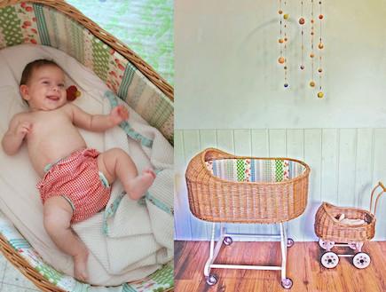 עריסה של פעם. תינוקת ועריסה (צילום: קרן שביט)