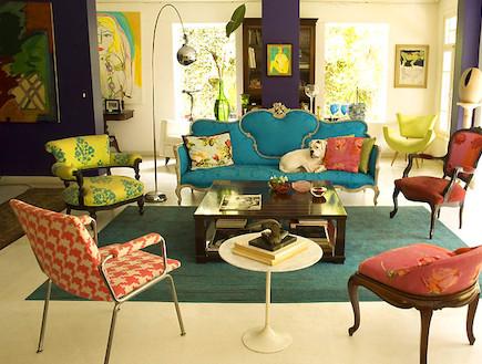 סלון פנג שואי. כחול ואדום (צילום: מתוך האתר inhabitat.com)