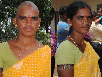 אישה הודית לפני ואחרי גזיזת השיער