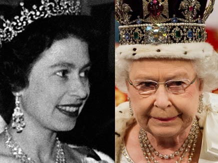 המלכה אליזבת, ב-1952 והיום (צילום: AP)