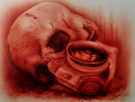 ציור דם של רב מאיירס (צילום: bloodpainting.com)