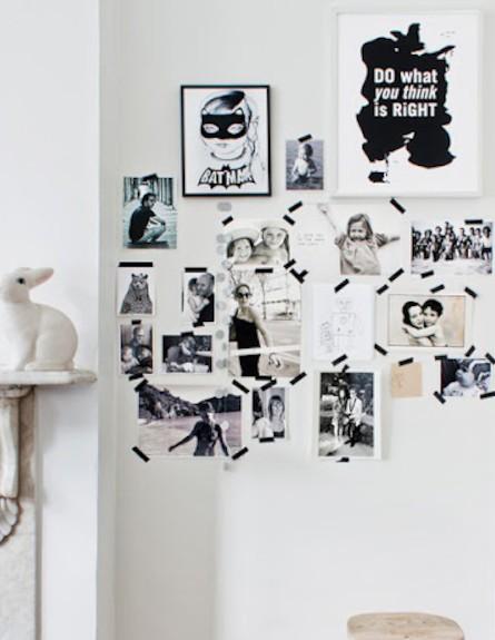 תמונות משפחתיות מודבקות על קיר (צילום: מתוך האתר: bodieandfou.com)