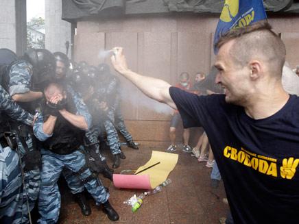 הפגנות מחאה ברחובות קייב (צילום: AP)