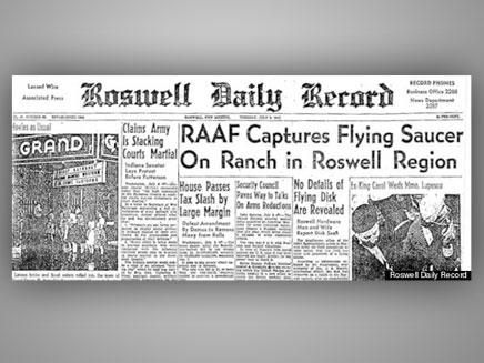 כותרת הדיילי רוזוול רקורד (צילום: הופינגטונפוסט)