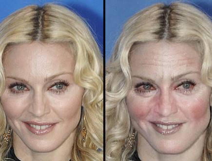 מדונה לפני ואחרי עיבוד (מקור: SWNS) (צילום: אילוסטרציה)