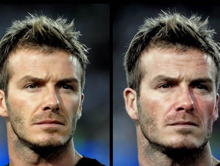 דיוויד בקהאם לפני ואחרי עיבוד (מקור: SWNS) (צילום: אילוסטרציה)