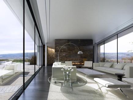 סלון הבית של גרי נאביל (צילום: מתוך: makearchitects.com)