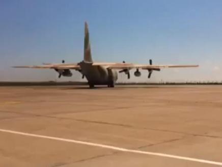 מטוס ההרקולס  ועליו הפצועים נוחת בארץ (צילום: חדשות 2)