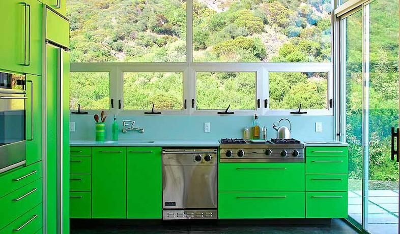 מטבח ירוק (צילום: Bruce Bolander Kitchen)