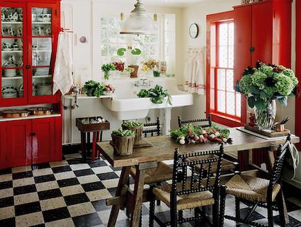 מטבח אדום ורצפה שחור לבן (צילום: מתוך האתר של martha stwert)