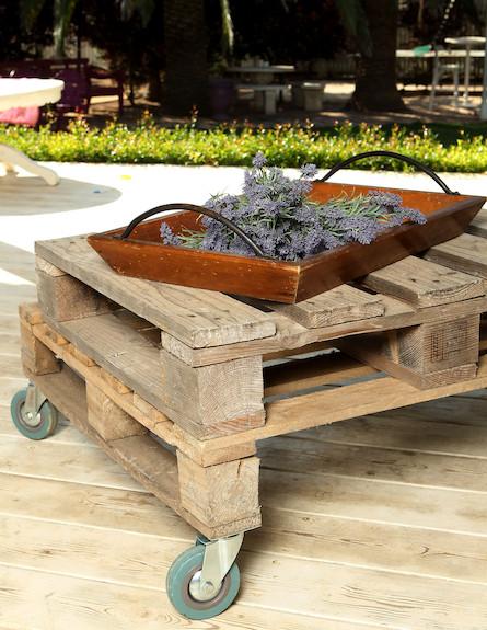 שולחן עם מגש פרחים (צילום: עודד קרני)
