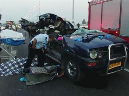 הג'יפ שנפגע בתאונה הקשה (צילום: חדשות 2)