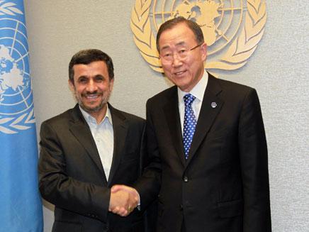 אחמדיניגאד נפגש עם באן בניו יורק (צילום: AP)
