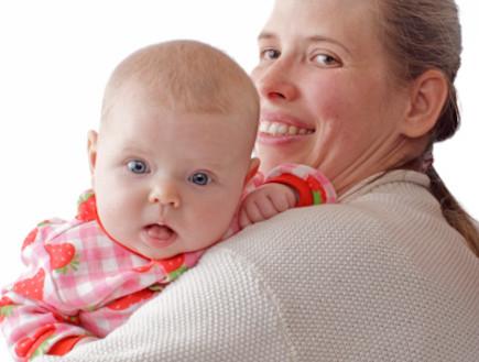 אמא עם תינוק על כתפה (צילום: אימג'בנק / Thinkstock)