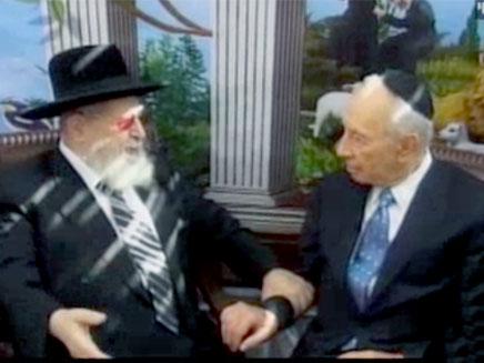 הנשיא פרס והרב עובדיה יוסף (צילום: חדשות 2)