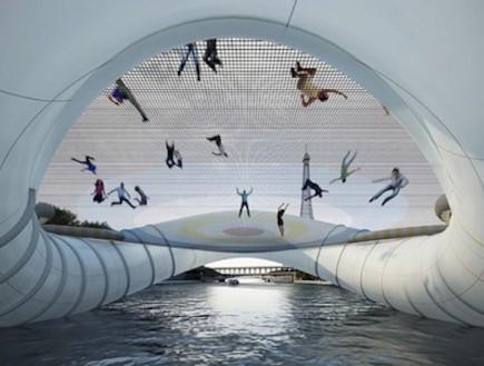 אנשים קופצים על גשר הטרמפולינה בפריז (צילום: designtaxi.com)