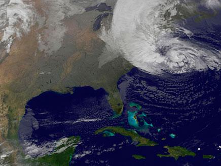 מפה הוריקן סנדי (צילום: חדשות 2)