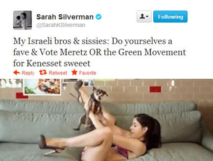 שרה סילברמן מצייצת על מרצ (אילוסטרציה) (צילום: טוויטר)