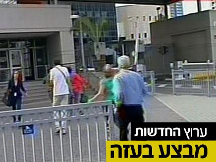 """גם הפעם: בהלה בזמן האזעקה בת""""א (צילום: חדשות 2)"""