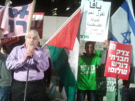 אלון ליאל, בעצרת הערב (צילום: עזרי עמרם)