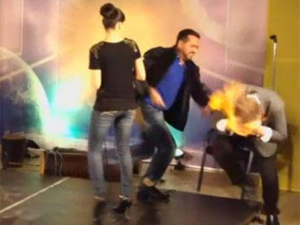 הקוסם עולה באש (צילום: סקיי ניוז)