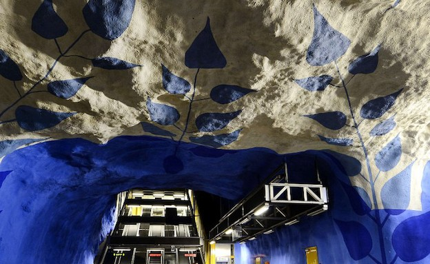 תערוכה ברכבת התחתית בשטוקהולם (צילום: dailymail.co.uk)
