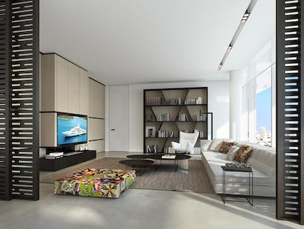 חדר טלוויזיה (צילום: טיילת דוד, פייגן אדריכלים, אנדו סטודיו)