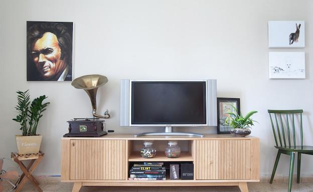 םינת טלוויזיה בדירת רווקים (צילום: אייל טואג, עיצוב: עדי אזולאי)