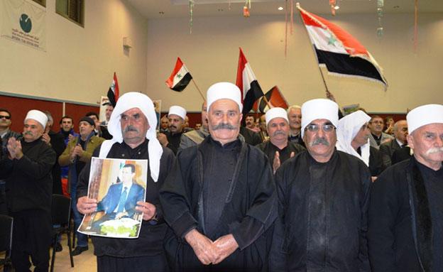 אירוע תמיכה באסד, הערב (צילום: Sami Abed Elhamed)
