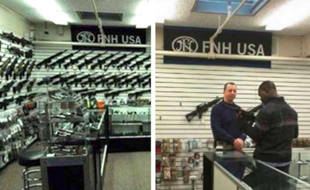 """חנות נשק בארה""""ב לפני (מימין) ואחרי הטבח בקונטיקט (צילום: טוויטר)"""