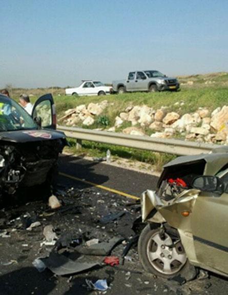 """זירת התאונה באלקנה, הבוקר (צילום: דוברות מחוז ש""""י)"""