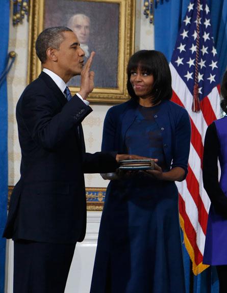 הנשיא אובמה מושבע בשנית, אמש (צילום: רויטרס)