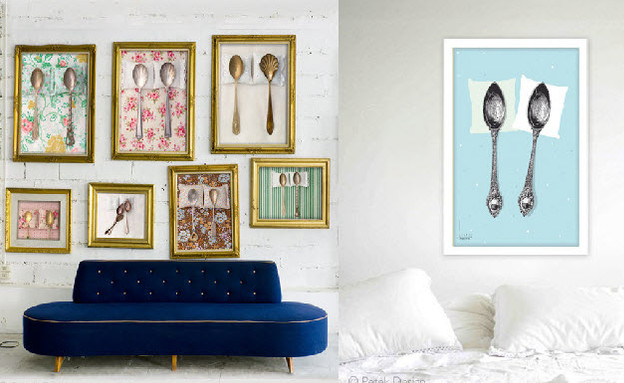 כפיות על הקיר (צילום: petekdesign-spooning-artwork)
