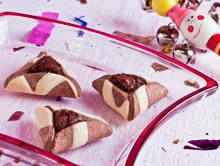 אוזני המן שחור לבן במילוי שוקולד פאדג' (צילום: מתוקה רומסרוויס)